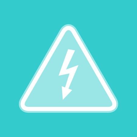 volte: High voltage danger sign. White icon with whitish background on torquoise flat color.