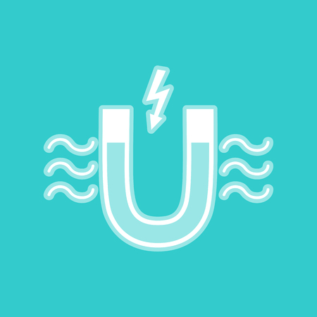 electromagnetic: Icon of magnet with magnetic force indication. White icon with whitish background on torquoise flat color.