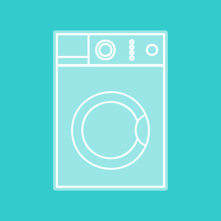 major household appliance: Washing machine sign. White icon with whitish background on torquoise flat color.