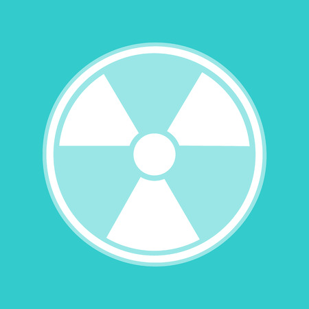 Radiation Round sign. White icon with whitish background on torquoise flat color.