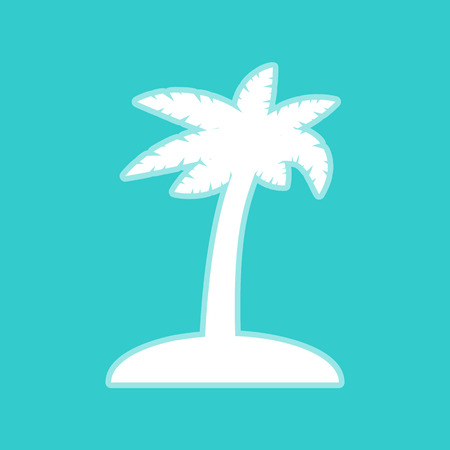 whitish: Coconut palm tree sign. White icon with whitish background on torquoise flat color.