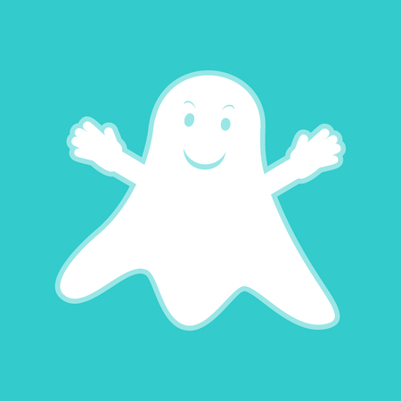 ghastly: Ghost isolated sign. White icon with whitish background on torquoise flat color. Illustration