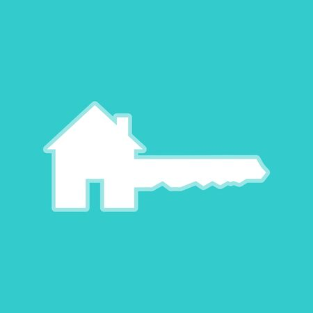 privileges: Home Key sign. White icon with whitish background on torquoise flat color. Illustration