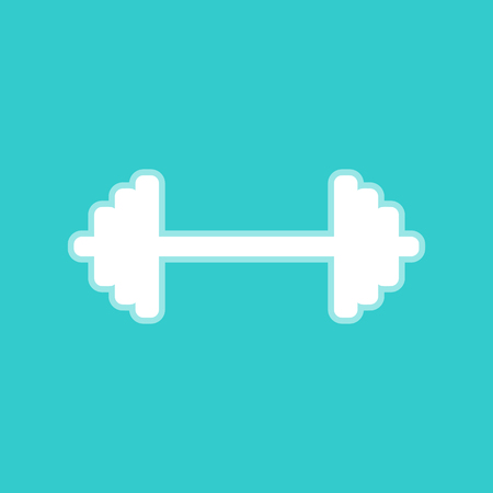 heavy load: Dumbbell weights sign. White icon with whitish background on torquoise flat color.