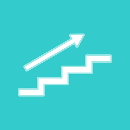 stair: Stair with arrow. White icon with whitish background on torquoise flat color.
