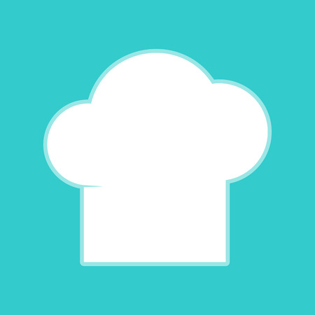 replaceable: Chef cap sign. White icon with whitish background on torquoise flat color. Illustration