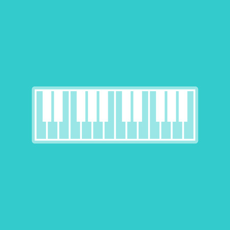 acoustically: Piano Keyboard sign. White icon with whitish background on torquoise flat color.