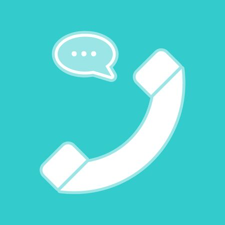 whitish: Phone with speech bubble sign. White icon with whitish background on torquoise flat color.