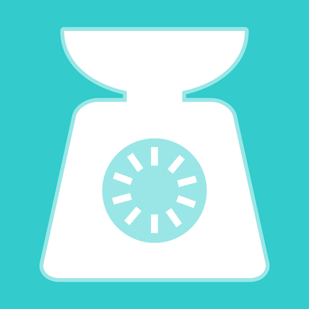 ounce: Kitchen scales icon. White icon with whitish background on torquoise flat color. Illustration