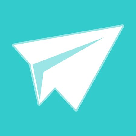 whitish: Paper airplane icon. White icon with whitish background on torquoise flat color.