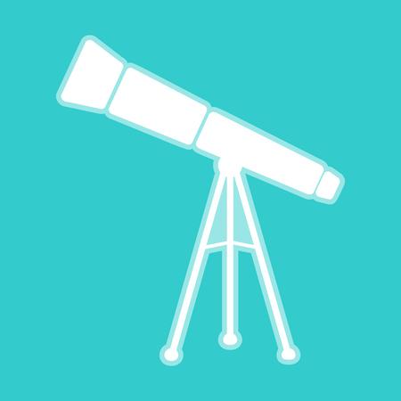 whitish: Telescope simple icon. White icon with whitish background on torquoise flat color. Illustration