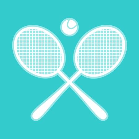whitish: Tennis racket icon. White icon with whitish background on torquoise flat color.