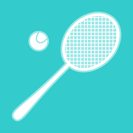 racquet: Tennis racquet icon. White icon with whitish background on torquoise flat color. Illustration
