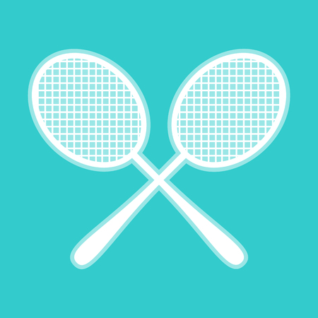handled: Tennis racquets icon. White icon with whitish background on torquoise flat color.