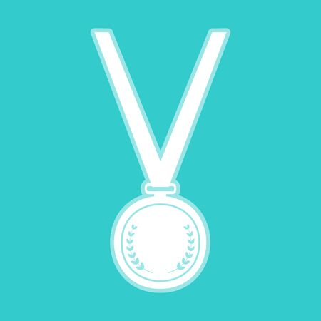 whitish: Medal simple Icon. White icon with whitish background on torquoise flat color. Illustration