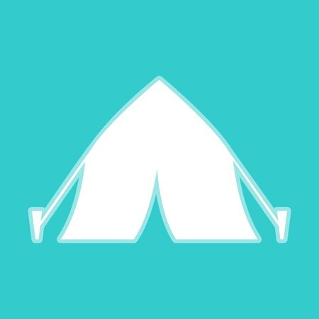 peg: Tourist tent icon. White icon with whitish background on torquoise flat color.