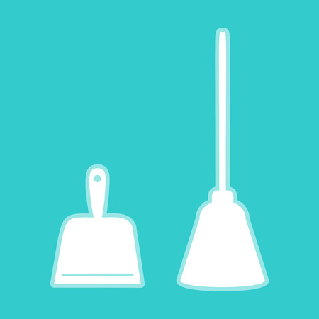 whisk broom: Dustpan vector icon. Scoop for cleaning garbage housework dustpan equipment. White icon with whitish background on torquoise flat color.