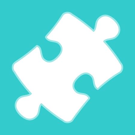 whitish: Puzzle piece flat icon. White icon with whitish background on torquoise flat color. Illustration