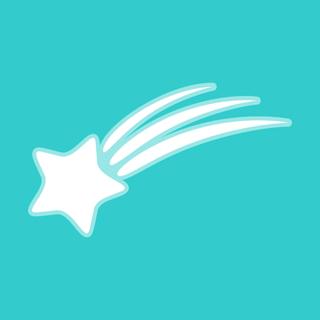 starfall: Shooting star icon. White icon with whitish background on torquoise flat color. Illustration