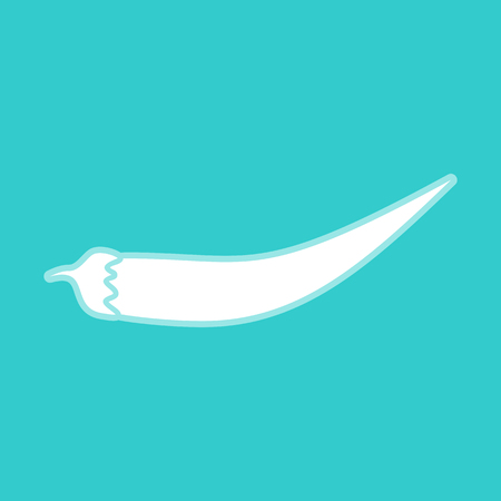 white pepper: Chilli pepper icon. White icon with whitish background on torquoise flat color. Illustration