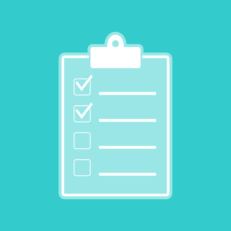 accepted: Checklist sign. White icon with whitish background on torquoise flat color.