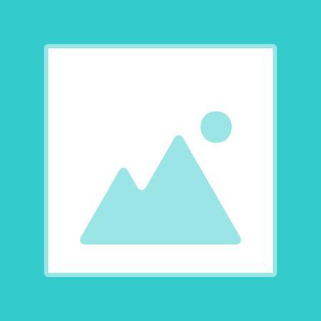 whitish: Image sign. White icon with whitish background on torquoise flat color. Illustration