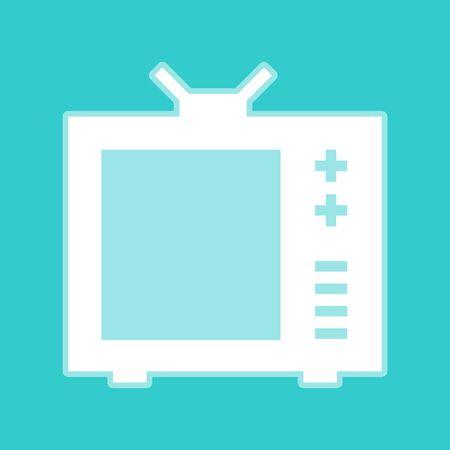 tvset: TV sign. White icon with whitish background on torquoise flat color. Illustration