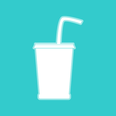 whitish: Drink sign. White icon with whitish background on torquoise flat color.