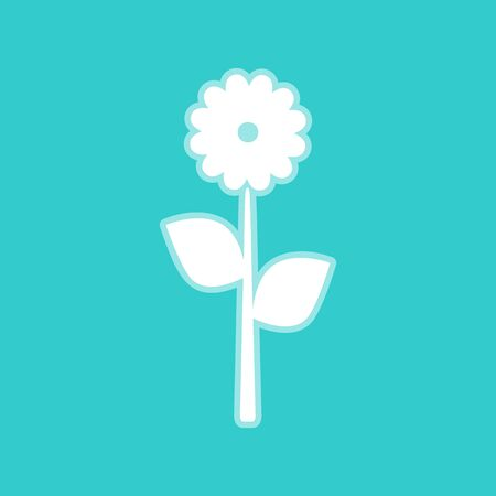 whitish: Flower sign. White icon with whitish background on torquoise flat color.