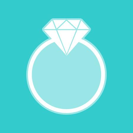 bijou: Diamond sign. White icon with whitish background on torquoise flat color.