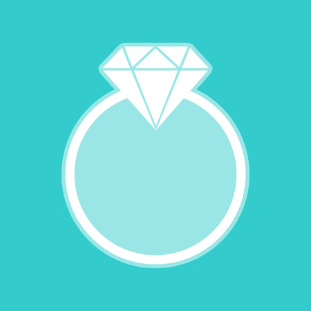 Diamond sign. White icon with whitish background on torquoise flat color.