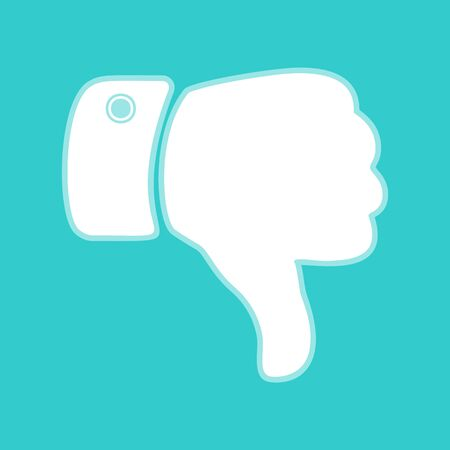 disapprove: Hand sign. White icon with whitish background on torquoise flat color.
