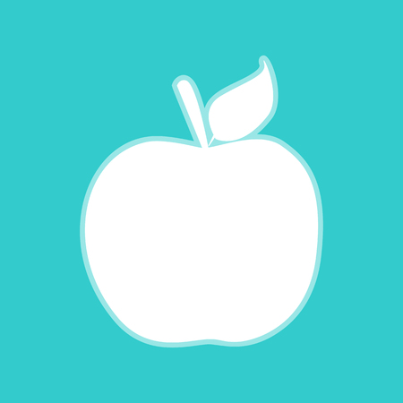 whitish: Apple sign. White icon with whitish background on torquoise flat color.