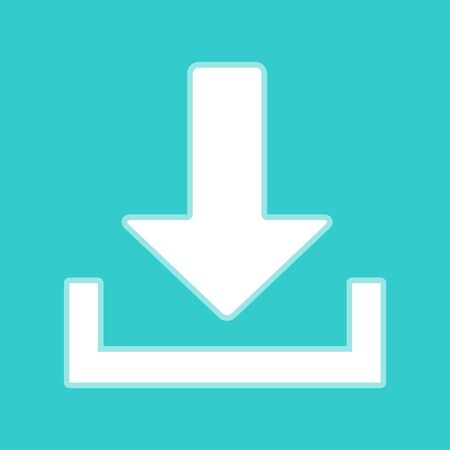 whitish: Download sign. White icon with whitish background on torquoise flat color.