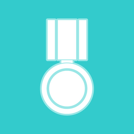 whitish: Medal sign. White icon with whitish background on torquoise flat color. Illustration