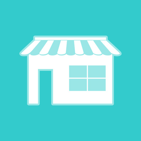 whitish: Store sign. White icon with whitish background on torquoise flat color.
