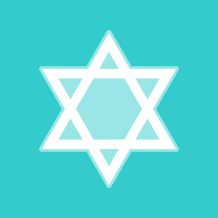 Star. Shield Magen David. Symbol of Israel. White icon with whitish background on torquoise flat color. Illustration
