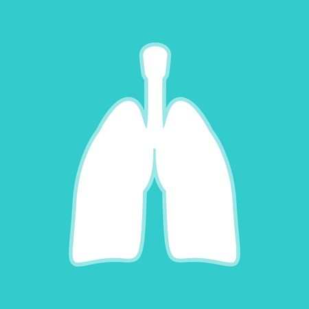 pulmones: Human organs. Lungs sign. White icon with whitish background on torquoise flat color.