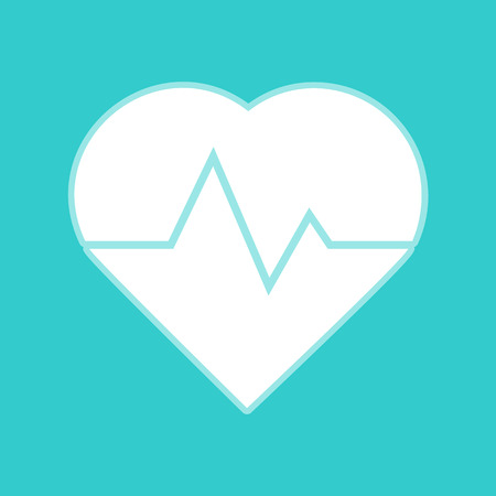 cardiograph: Heartbeat sign. White icon with whitish background on torquoise flat color. Illustration