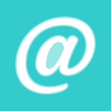 whitish: Mail sign. White icon with whitish background on torquoise flat color.