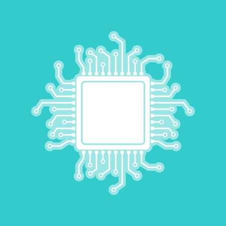 semiconductors: CPU Microprocessor. White icon with whitish background on torquoise flat color. Illustration