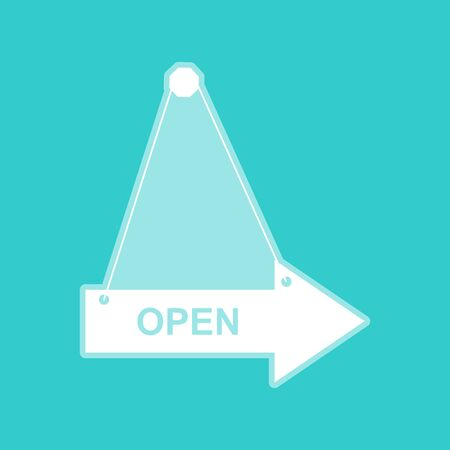 whitish: Open sign. White icon with whitish background on torquoise flat color.