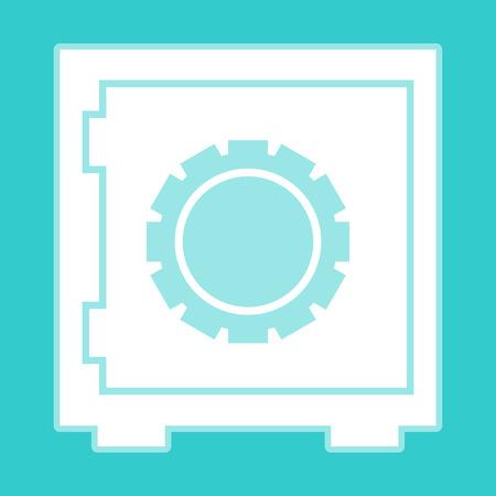 whitish: Safe icon. White icon with whitish background on torquoise flat color. Illustration