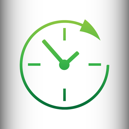 around the clock: Service and support for customers around the clock and 24 hours. Green gradient icon on gray gradient backround. Illustration