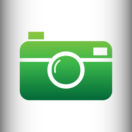 whim of fashion: Digital photo camera icon. Green gradient icon on gray gradient backround. Illustration