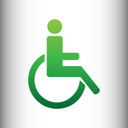 one man only: Disabled sign. Green gradient icon on gray gradient backround.