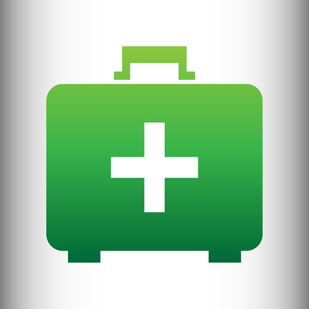 firstaid: First aid box sign. Green gradient icon on gray gradient backround. Illustration