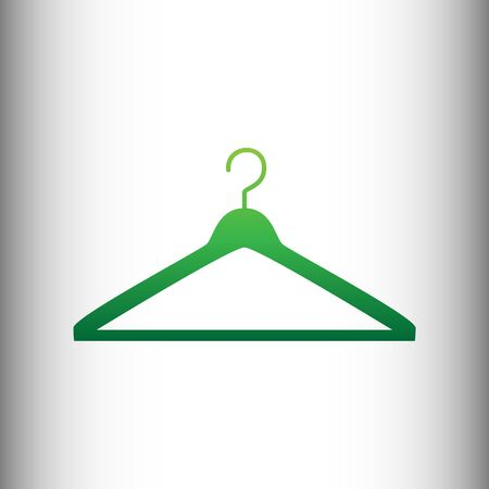 Hanger sign. Green gradient icon on gray gradient backround. Ilustracja