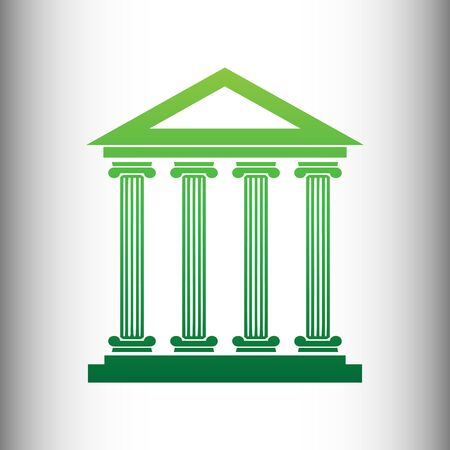 historical building: Historical building. Green gradient icon on gray gradient backround. Illustration