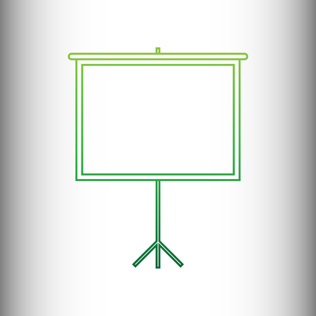 projection screen: Blank Projection screen. Green gradient icon on gray gradient backround. Illustration